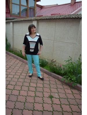 Bluza lunga, negru cu bej si turcoaz