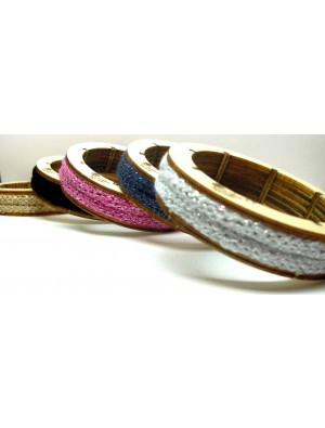 Bratara din textil si lemn, cu sclipici