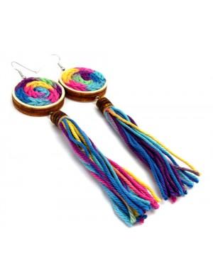 Cercei din textil si lemn, rotund, stil jamaican.