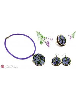 Set de colier, cercei si inel, din textil si lemn, cu model floral, lavanda