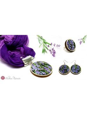 Set de esarfa, cercei si inel, din textil si lemn, cu model floral, lavanda