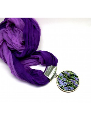 Esarfa din textil, cu model floral, lavanda