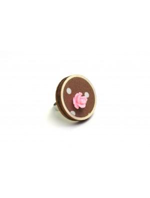 Inel din textil si lemn, marou- roz, cu o floare din acril