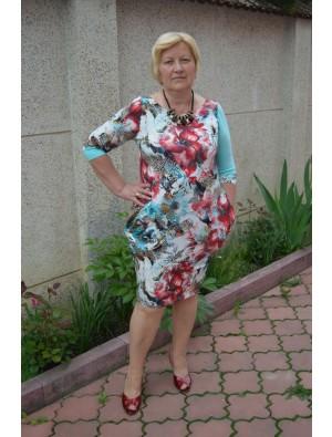 Rochie cu imprimeu floral, cu albastru