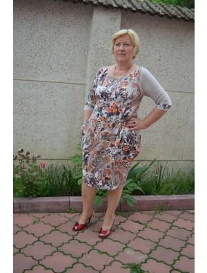 Rochie cu imprimeu floral, cu bej