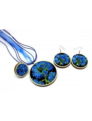 Set de colier, inel si cercei, din textil si lemn,  floare de nu-ma-uita